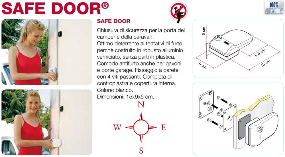 Safe door camper caravan serratura sicurezza alluminio for 3 dimensioni del garage di stallo